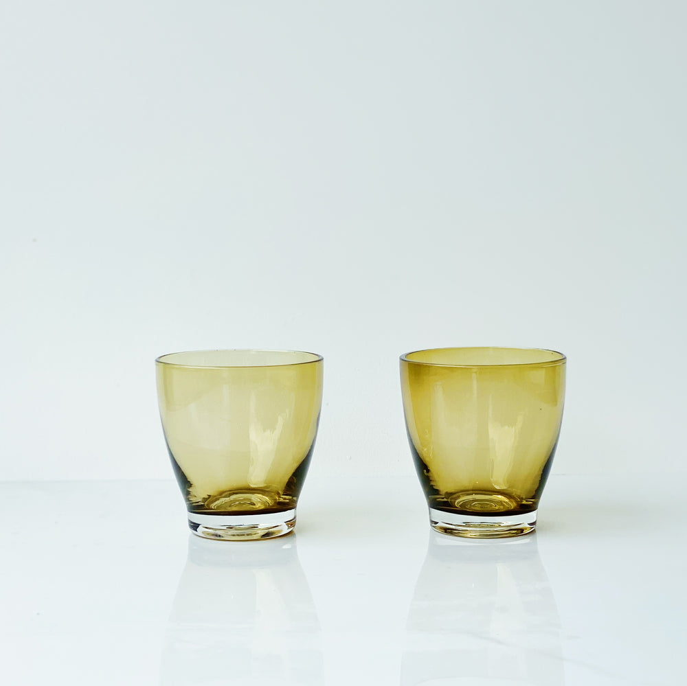 Petite Amber/Gold Glass Tumblers (Set of 2)