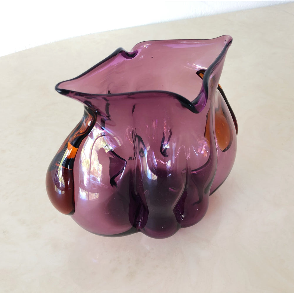 Hand-Blown Purple & Orange Glass Vase