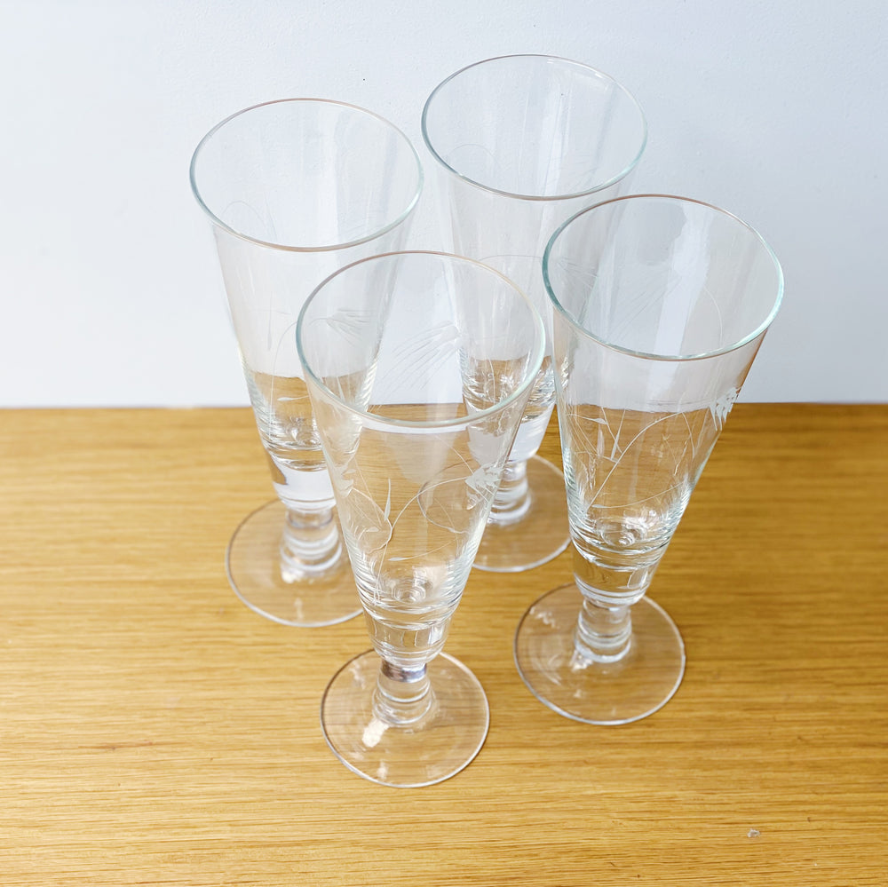 Sasaki Pilsner Glasses with Etched Wheat Detail (Set of 4)