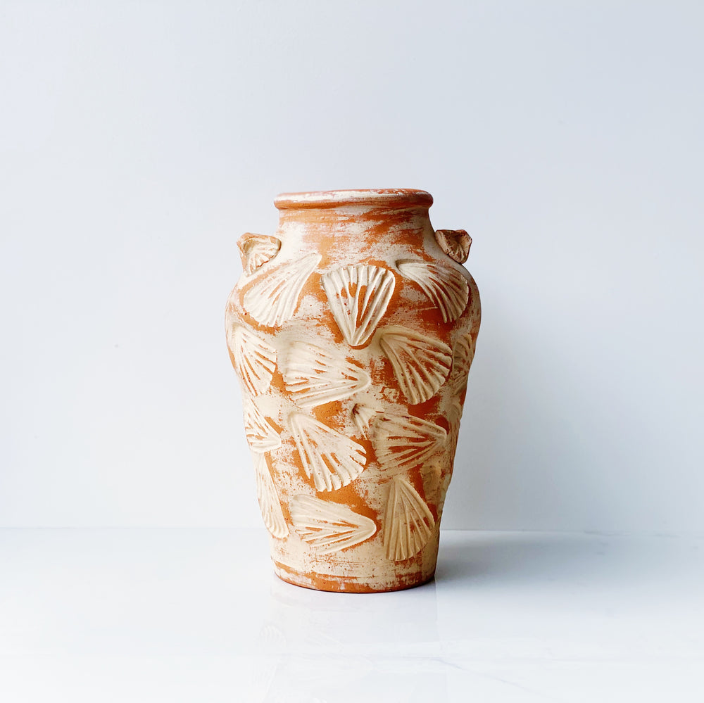 Terracotta Vase with Shell Impressions