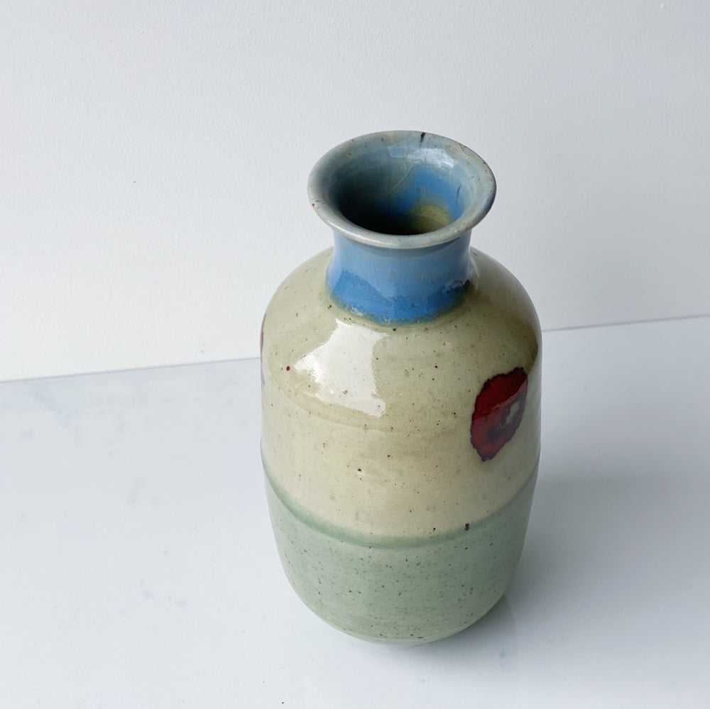 Ceramic Vase with Green, Blue + Red Glaze