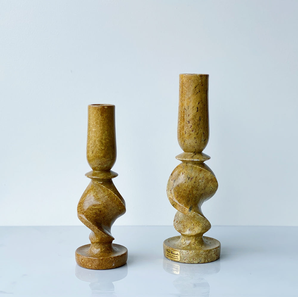Spiral Soapstone Candle Holders (Set of 2)