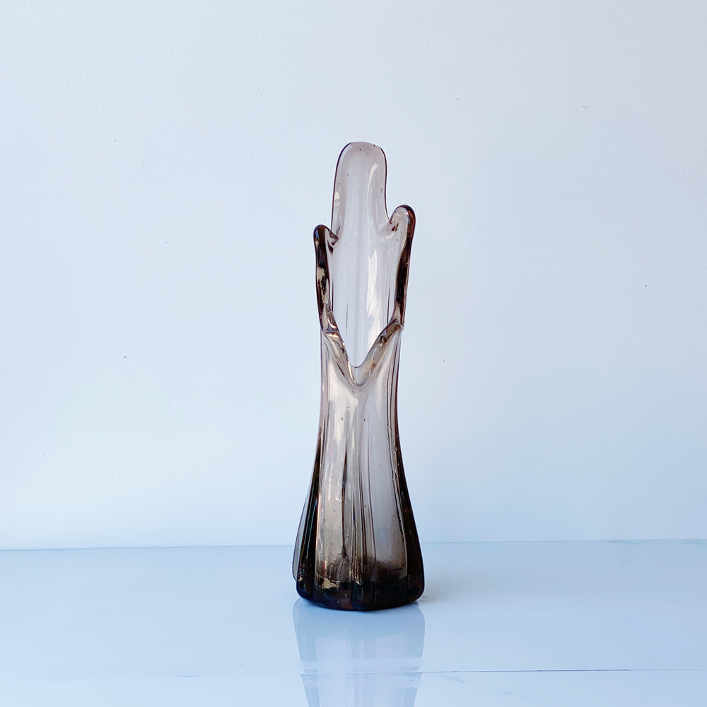 Smoky Brown Swung Glass Vase