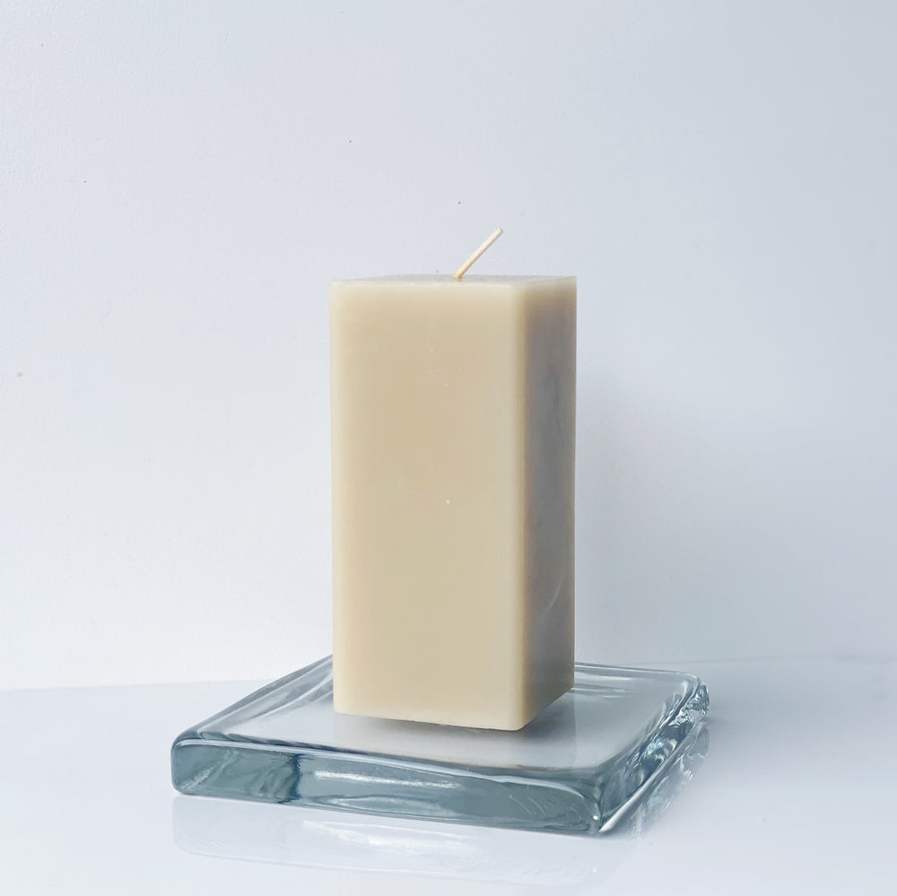 Chunky Square Glass Pedestal with Pillar Candle