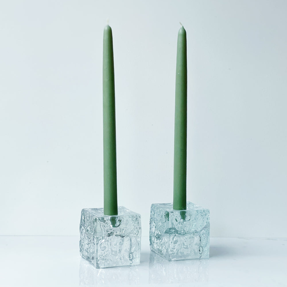 Chunky Glass Cube Candle Holders (Set of 2)