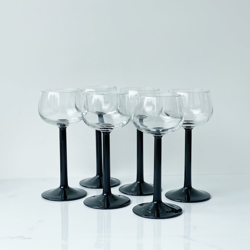 Black-Stemmed Wine Glasses (Set of 6)