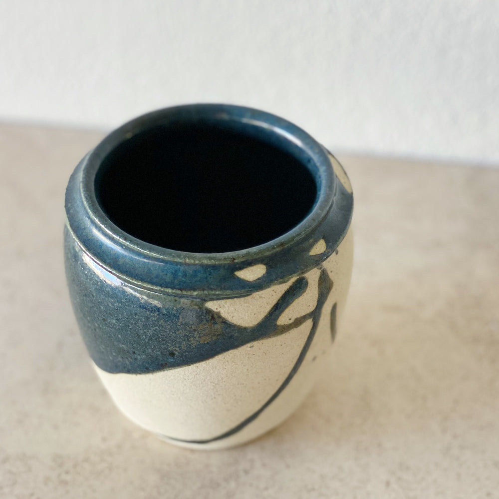 Stoneware Vase/Planter with Midnight Blue Dripped Glaze