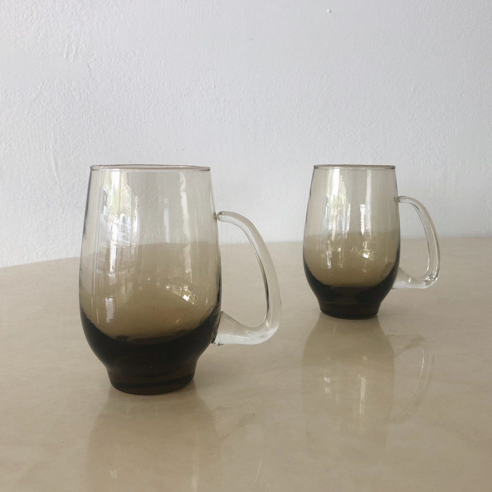 Smokey Brown Glass Beer Mug with Handle (Set of 6)