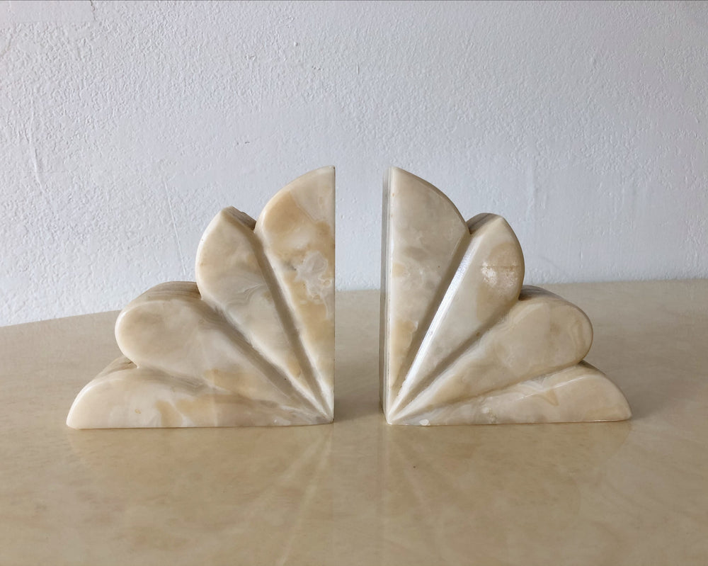 Scalloped Stone Bookends (Set of 2)