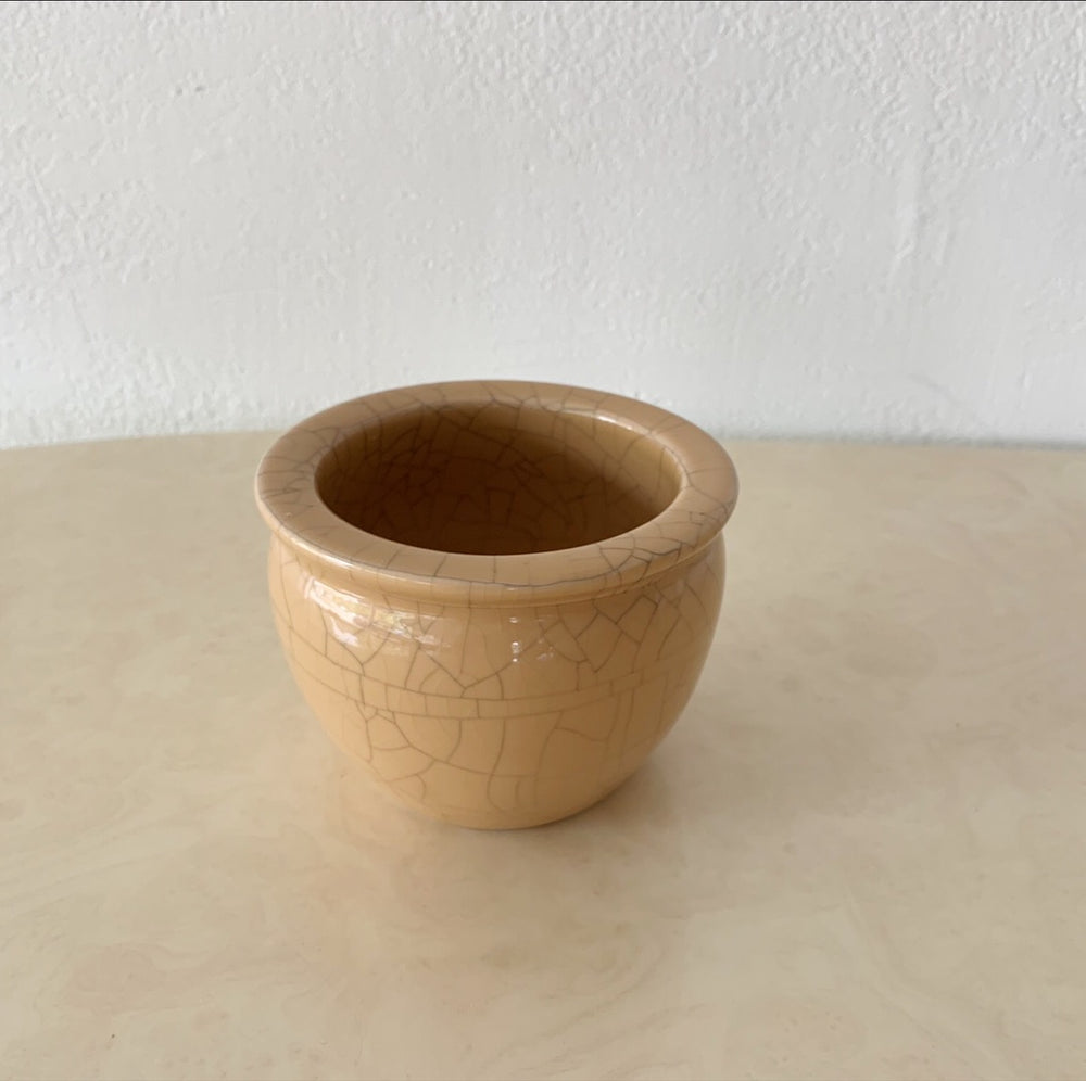 Tan Crackle-Glaze Planter