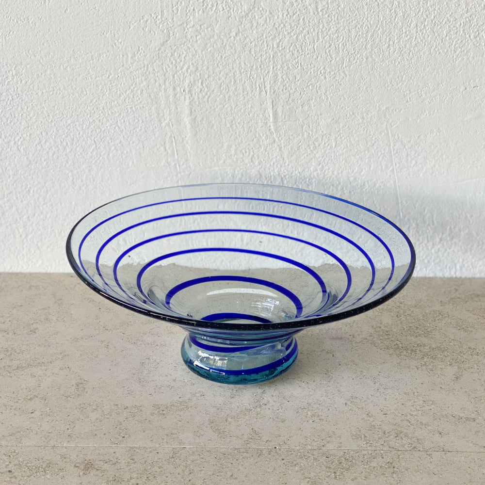 Glass Bowl with Cobalt Blue Swirl