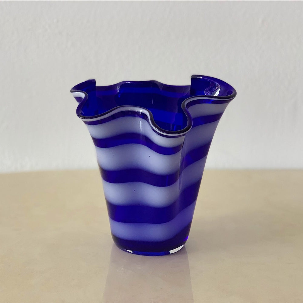 Blue & White Striped Ruffled Vase