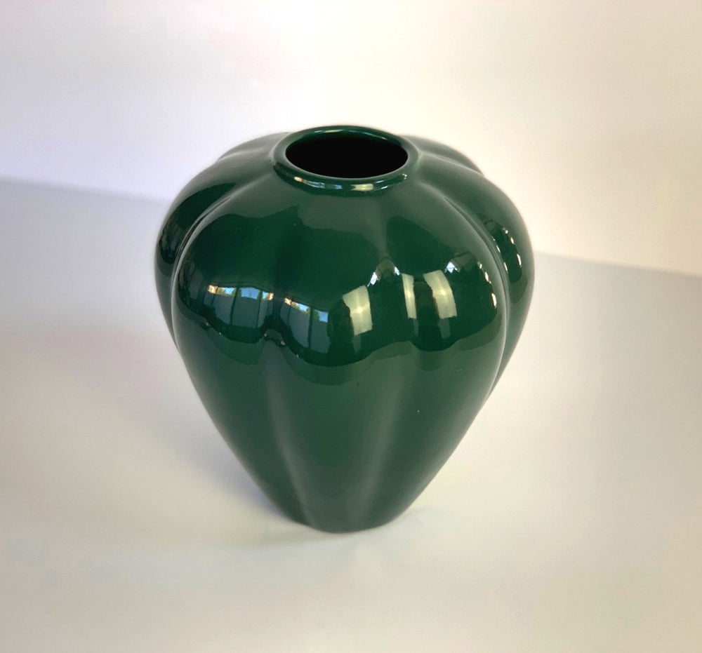 Vintage Dark Green Ceramic Vase