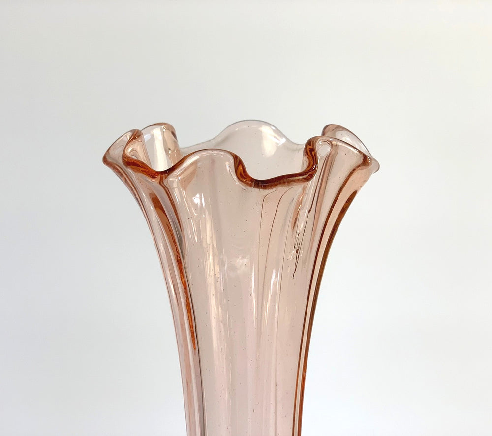 Mid-Century Peachy Swung Glass Vase