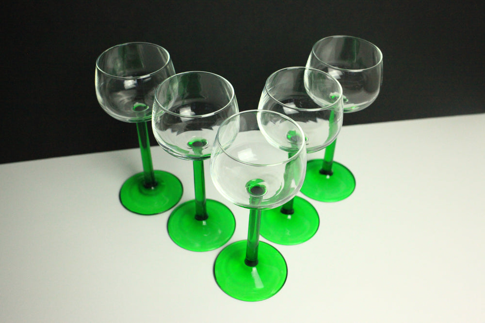 1970s Green-Stemmed Wine Glasses (Set of 5)