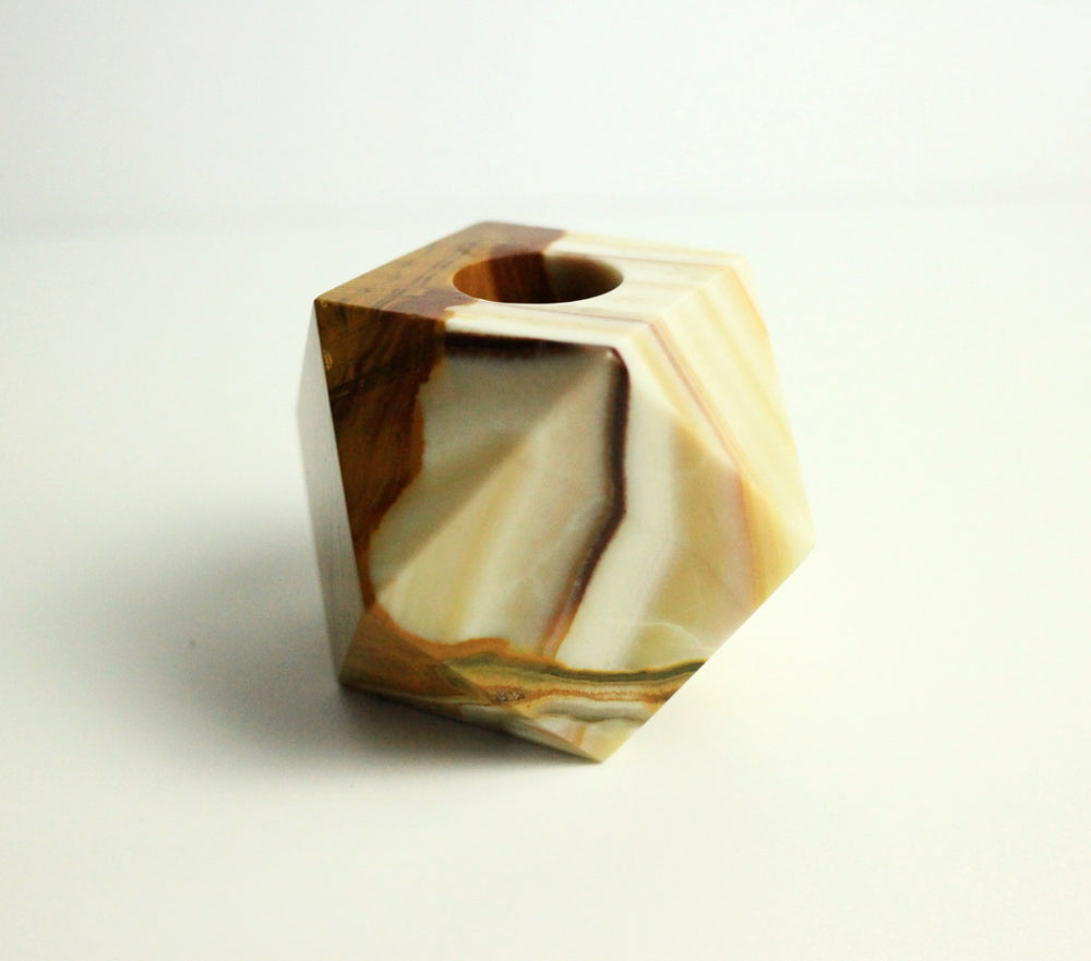 Polyhedron Onyx Candle Holder