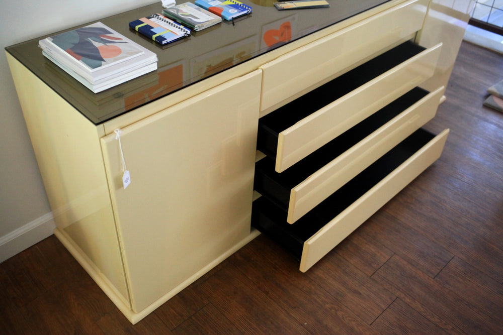 1980s Beige Lacquered Console with Amber Glass Top