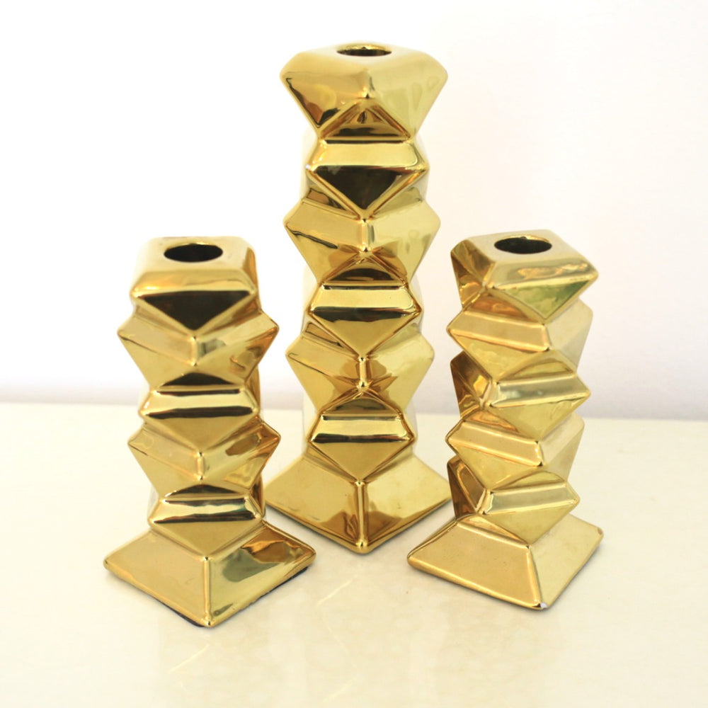 Vintage Gold Stacked Candle Stick Holders (Set of 3)