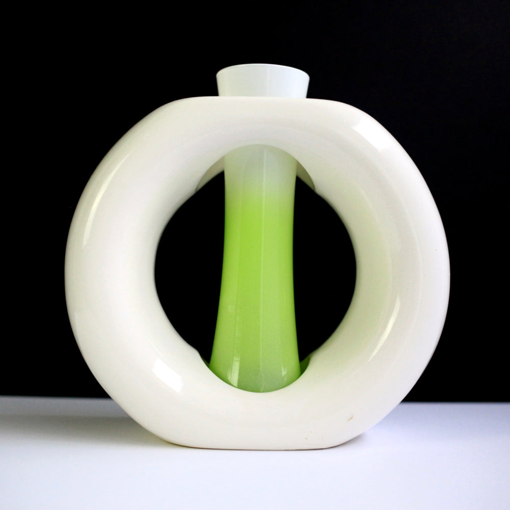Vintage 2-Piece White & Green Vase