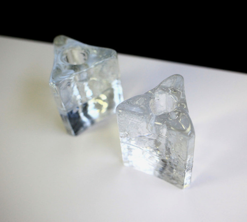 1980s Blenko Ice Cube Candle Holders (Set of 2)
