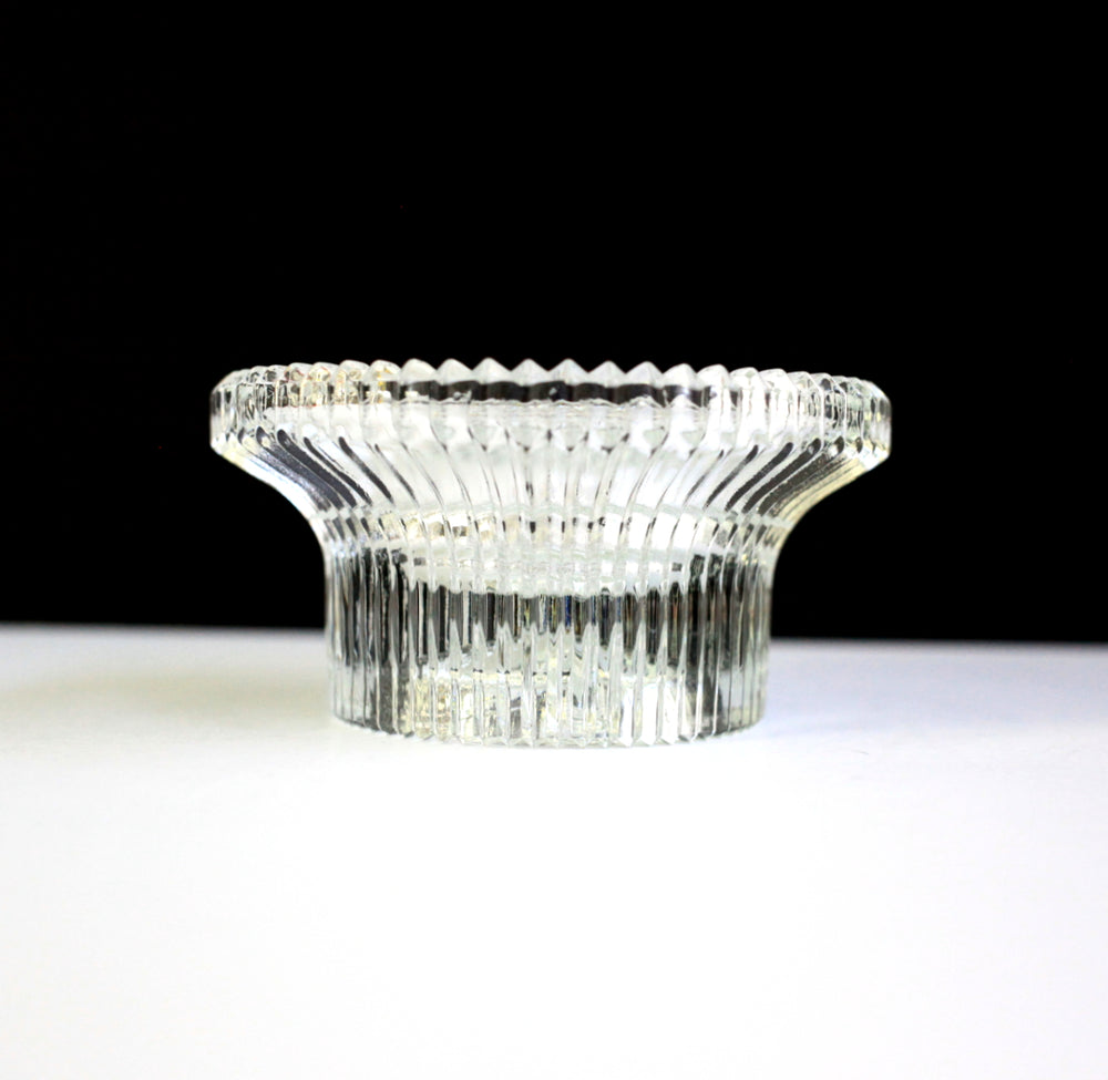 Vintage Ridged Clear Glass Ashtray