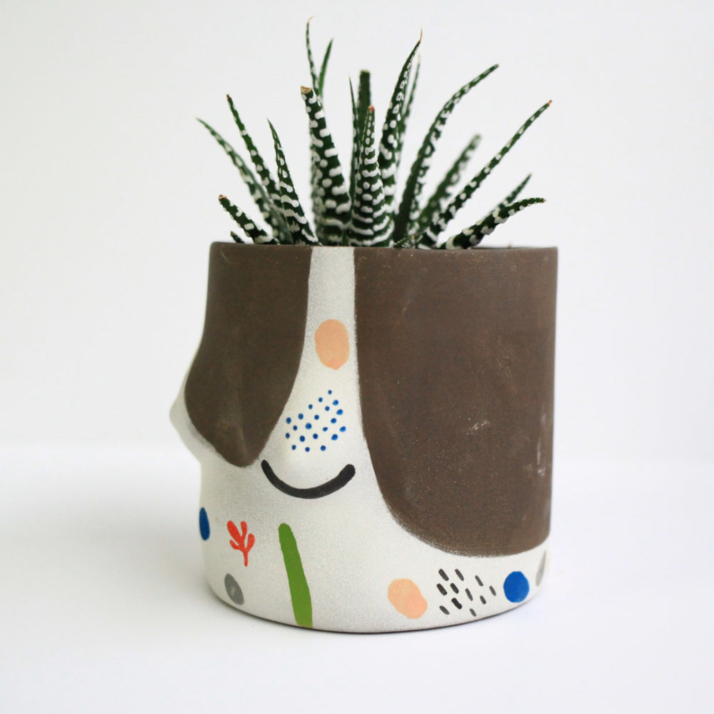 """Top"" Ceramic Pot, Dark/Confetti"