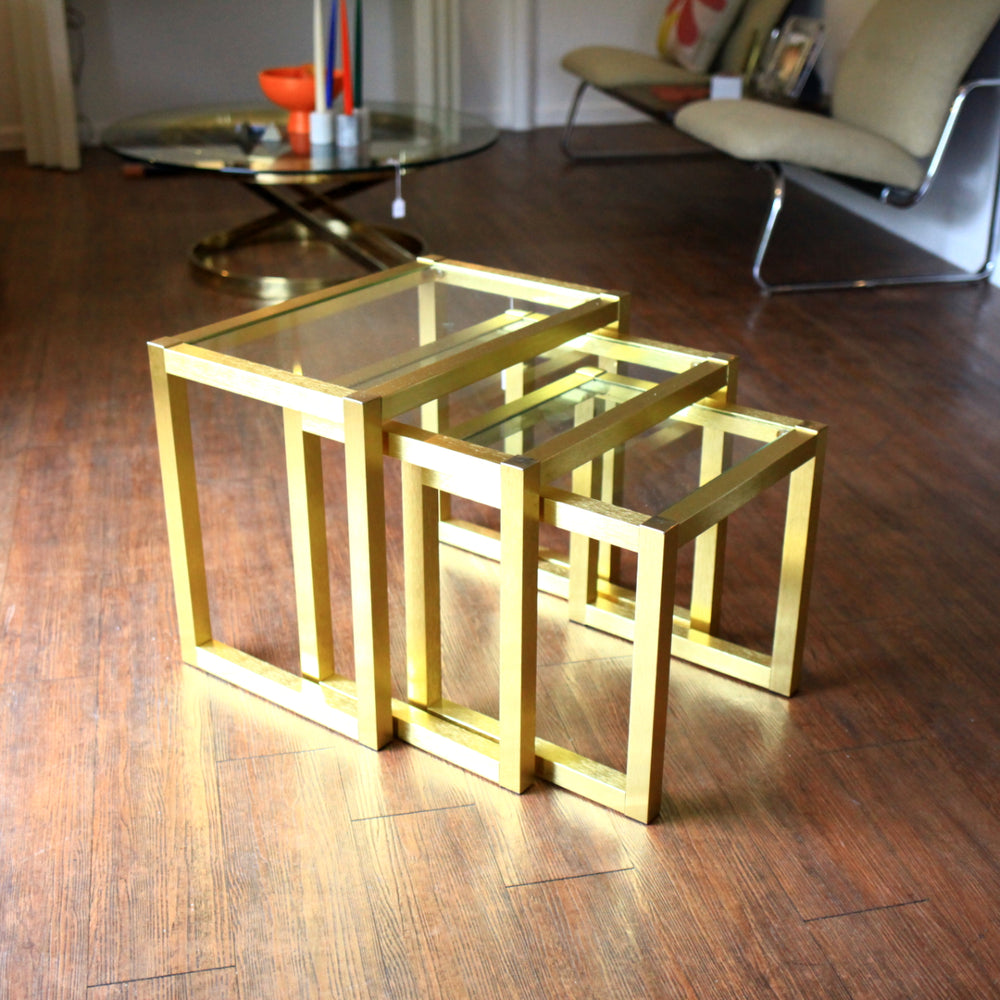 Brushed Aluminum Gold & Glass Nesting Tables