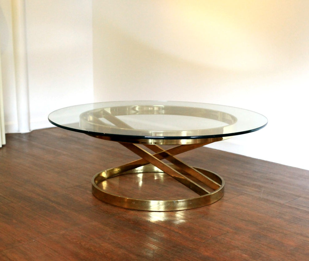 Vintage Glass & Brass Round Coffee Table