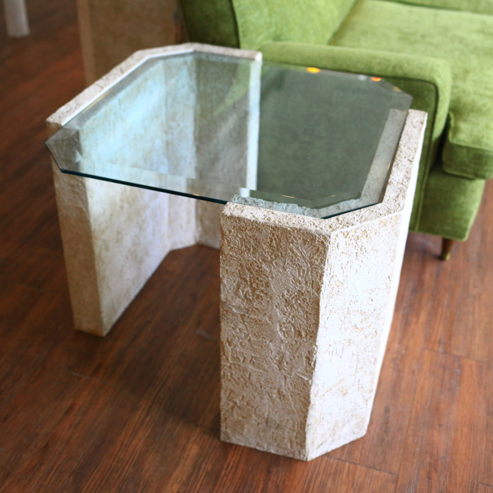 1980s Stucco Cement & Glass End Table