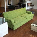 Mid-Century Sofa with Green Chenille Upholstery