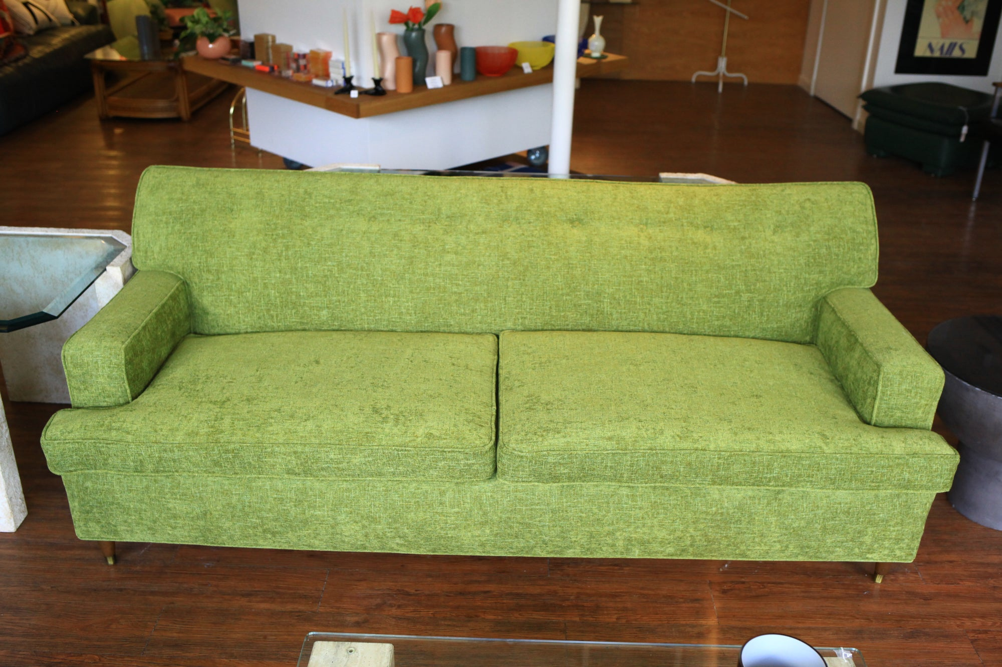 Strange Mid Century Sofa With Green Chenille Upholstery Pdpeps Interior Chair Design Pdpepsorg