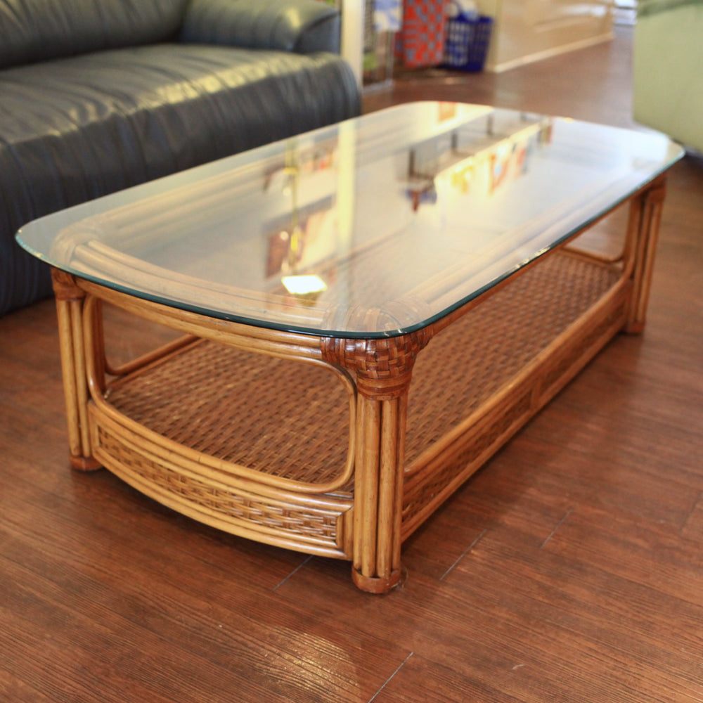 Vintage Rattan Coffee Table with Glass Top