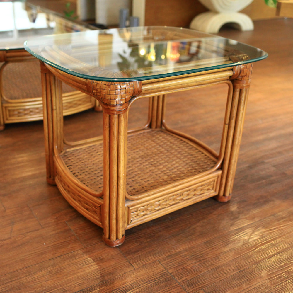 Vintage Rattan Side Table with Glass Top
