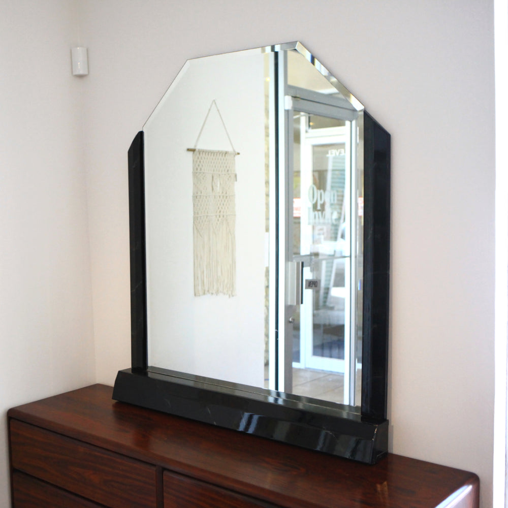 Vintage Black Lacquered Mirror with Base