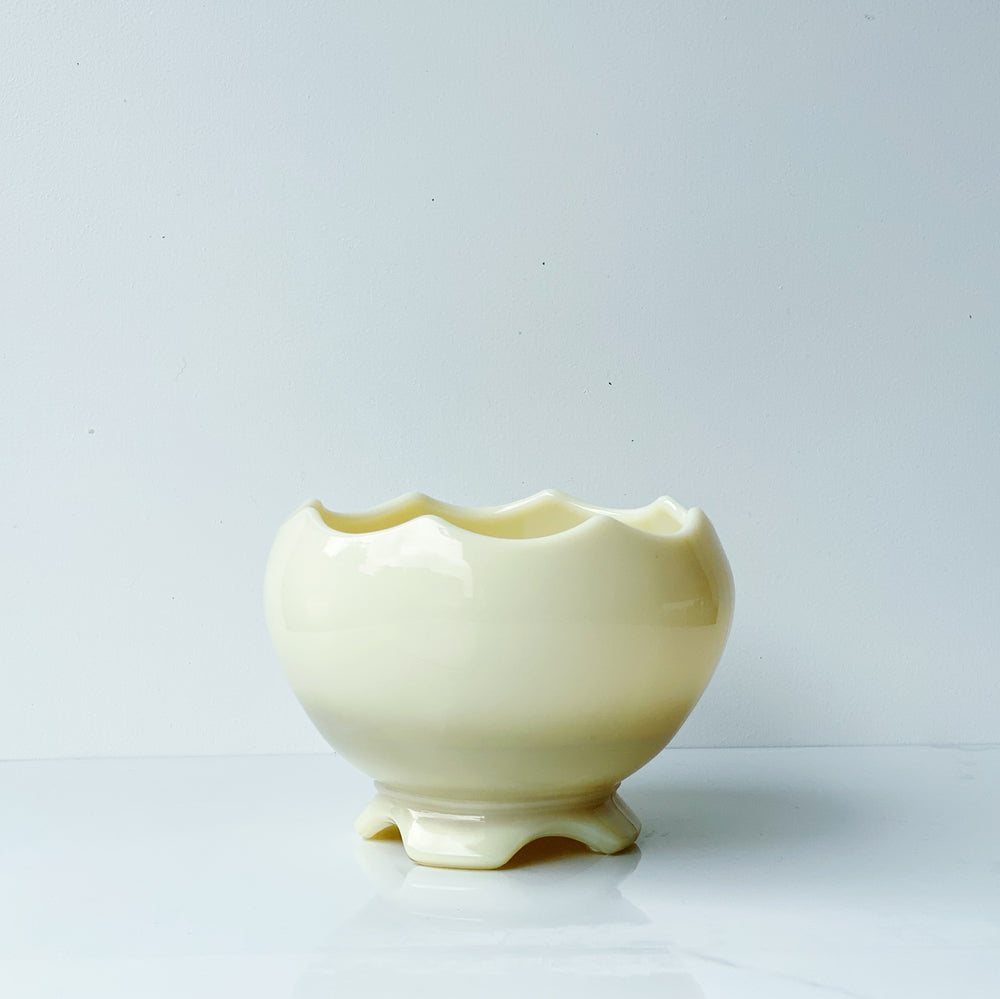 Opaque Cream-Colored Glass Vessel with Scalloped Rim