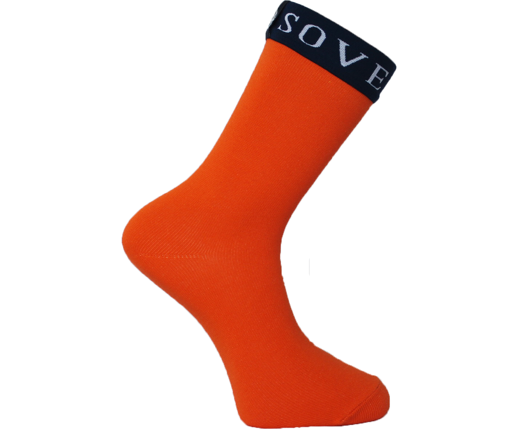 Orange Socks Blue Trim - Sovereign Socks