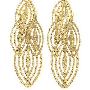 14Kt Yellow Gold Shiny 2 Square Tube Long Open Diamond Shape Fancy Drop Earring with Euro Wire Clasp