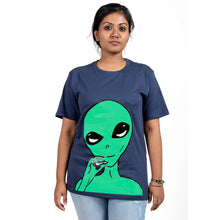 Load image into Gallery viewer, Smoking Alien Blue T-Shirt Female Model