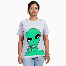 Load image into Gallery viewer, Smoking Alien Grey T-Shirt Female Model