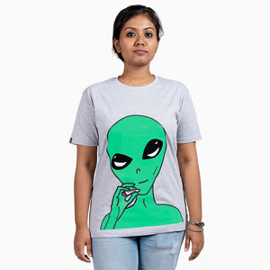 Smoking Alien Grey T-Shirt Female Model