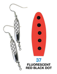 Deadly Dick Earrings - 37 - Fluorescent Red Black Dot