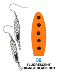 Deadly Dick Earrings - 39 - Fluorescent Orange Black Dot