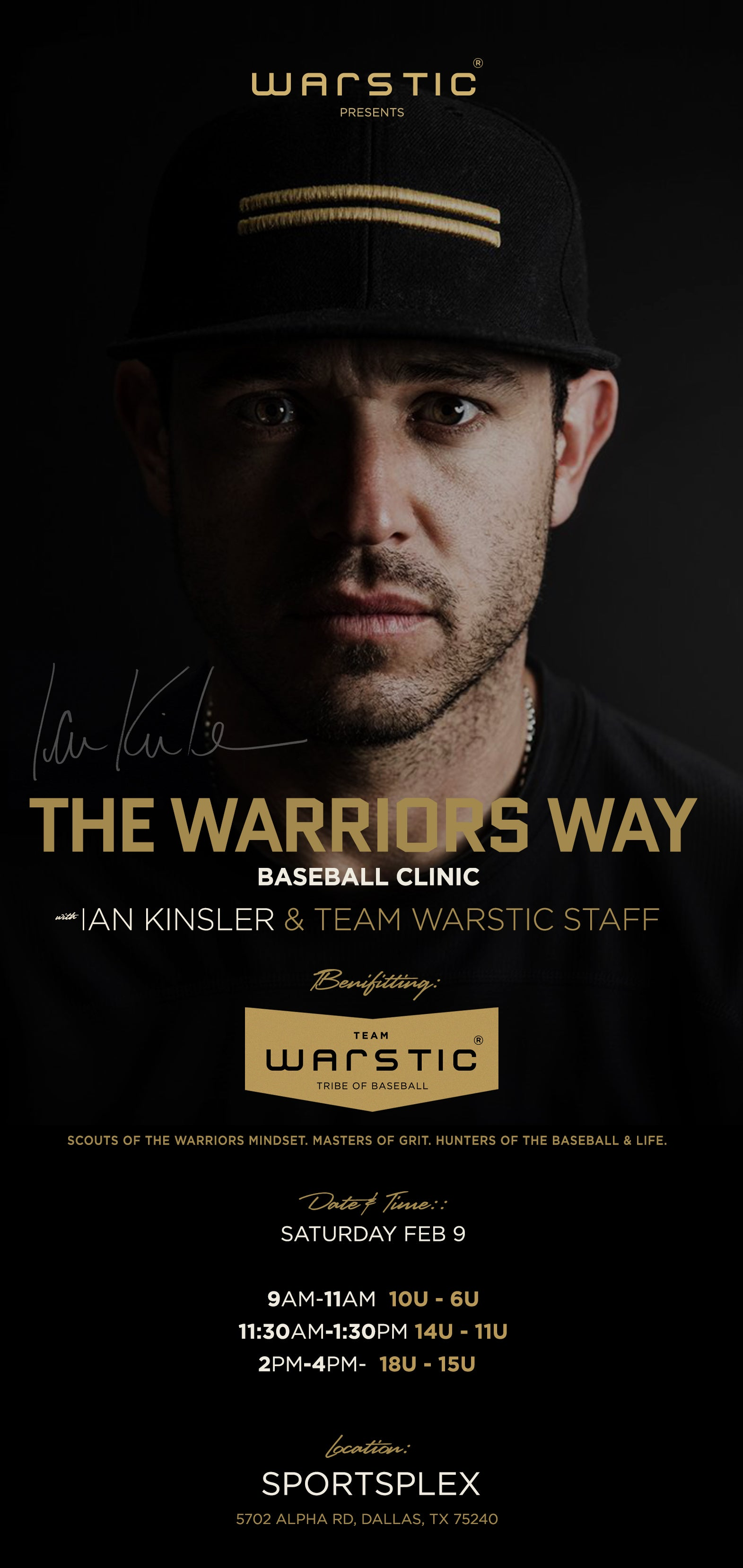 The Warrior's Way Baseball Clinic  - Saturday February 9, 2019