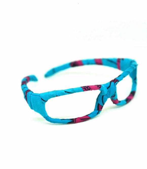 Lunettes serre tête pagne turquoise