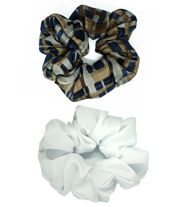 Set de 2 gros chouchous coton white & blue pattern