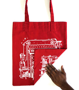 "Tote bag ""Maquis Rue Princesse"" rouge"