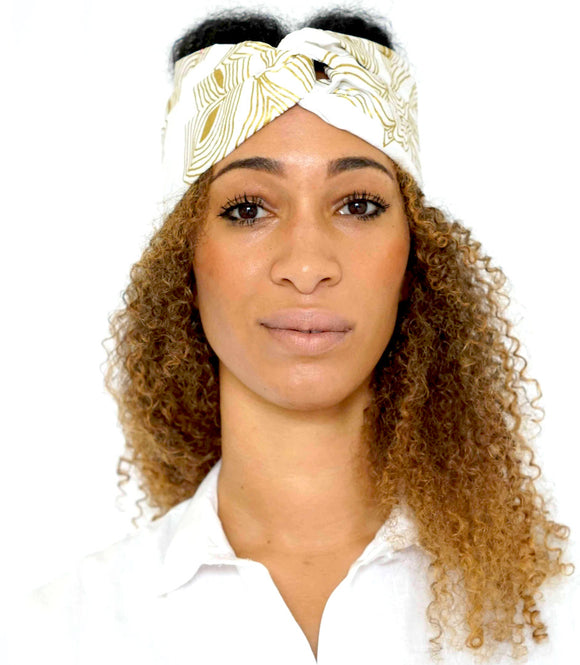 Turban wax Woodin blanc/doré