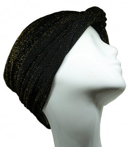 Turban stretchy black & gold