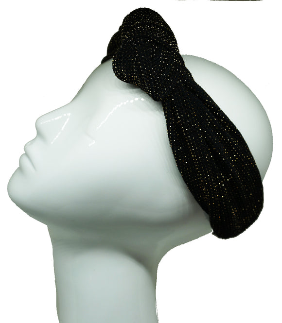 Headband stretchy knot black & gold