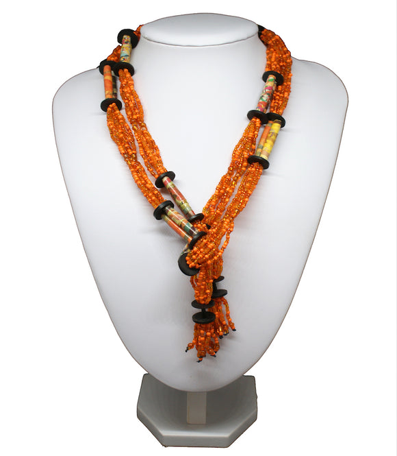 Collier perles recyclage orange